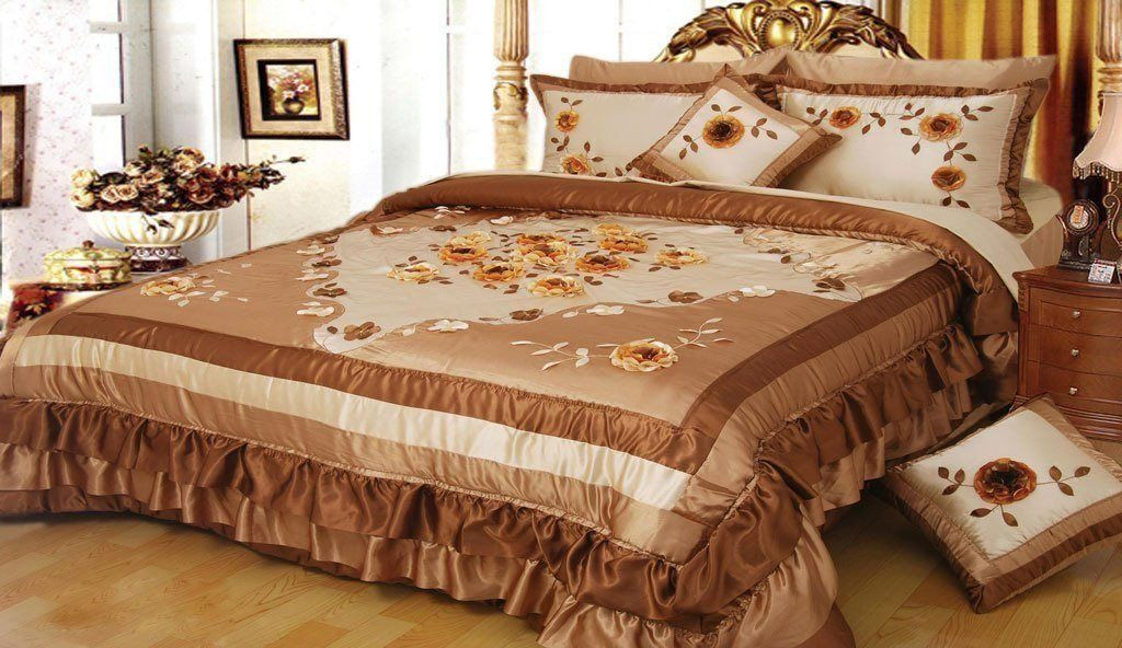 Comforter - DaDa Bedding Floral Creme Brulee Bordered Embellished Ruffles Bedspread Comforter Set - King - 5-Pieces (BM6045)