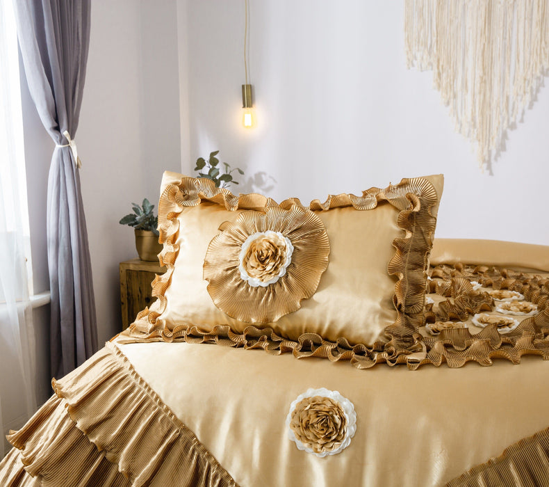 Comforter - DaDa Bedding Shiny Golden Sateen Luxury Floral Puffy Ruffles Comforter Set - 4-Pieces - Twin Size (BM4578) - DaDa Bedding Collection
