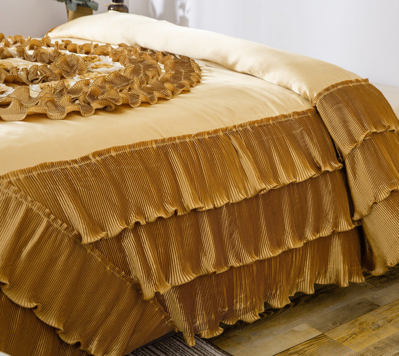Comforter - DaDa Bedding Shiny Golden Sateen Luxury Floral Puffy Ruffles Comforter Set - 6-Pieces (BM4578) - DaDa Bedding Collection