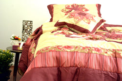 DaDa Bedding Sunset Rubies Red Burgundy Beige Floral Ruffles Comforter Set (BM465L-1) - DaDa Bedding Collection