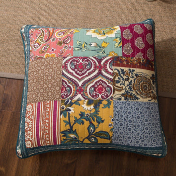 "CUSHION COVER - DaDa Bedding Bohemian Dark Elegance Quilted Patchwork Square Pillow Accent Euro Cover Case - 26"" X 26"" - 1-Piece (JHW-550-EURO)"