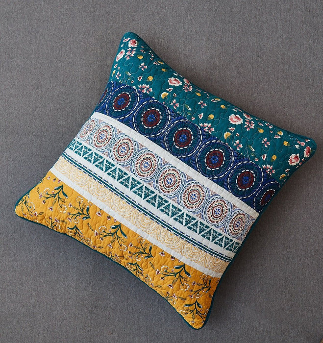 "CUSHION COVER - DaDa Bedding Bohemian Patchwork Bed of Wild Flowers Floral Garden Euro Pillow Sham Cover, 26"" x 26"" (JHW886) - DaDa Bedding Collection"