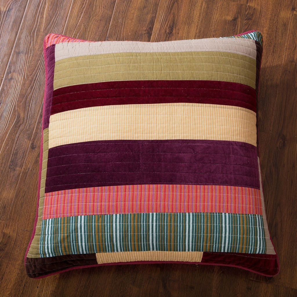 "CUSHION COVER - DaDa Bedding Classical Desert Sands Striped Velveteen Cotton Real Patchwork Quilted Square Pillow Accent Euro Cover Case - 26"" X 26"" - 1-Piece (JHW-577-EURO)"