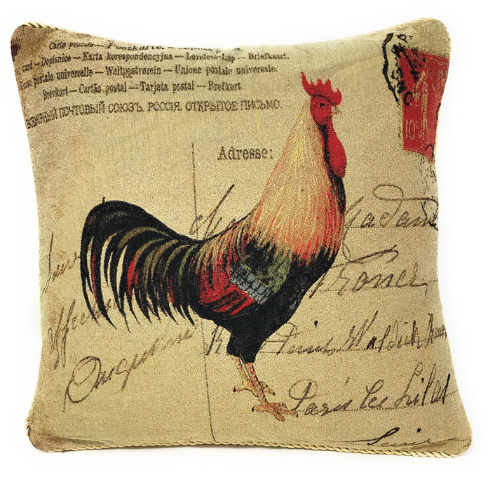"CUSHION COVER - DaDa Bedding Glamorous Rooster Elegant Throw Pillow Cushion Cover - 18"" - 1-Piece - DaDa Bedding Collection"