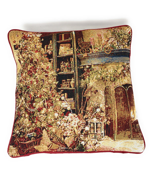 "Cushion Cover - DaDa Bedding Golden Christmas Throw Pillow Cover Tapestry Cases 16"" x 16"" (14604) - DaDa Bedding Collection"