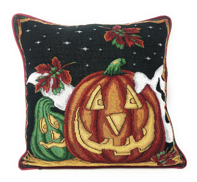 "Cushion Cover - DaDa Bedding Halloween Pumpkins Throw Pillow Cover Tapestry Cases 16"" x 16"" (12914) - DaDa Bedding Collection"