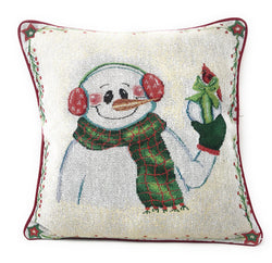 "Cushion Cover - DaDa Bedding Magical Snowman Throw Pillow Cover Tapestry Cushion Cases 16"" x 16"" (9733) - DaDa Bedding Collection"
