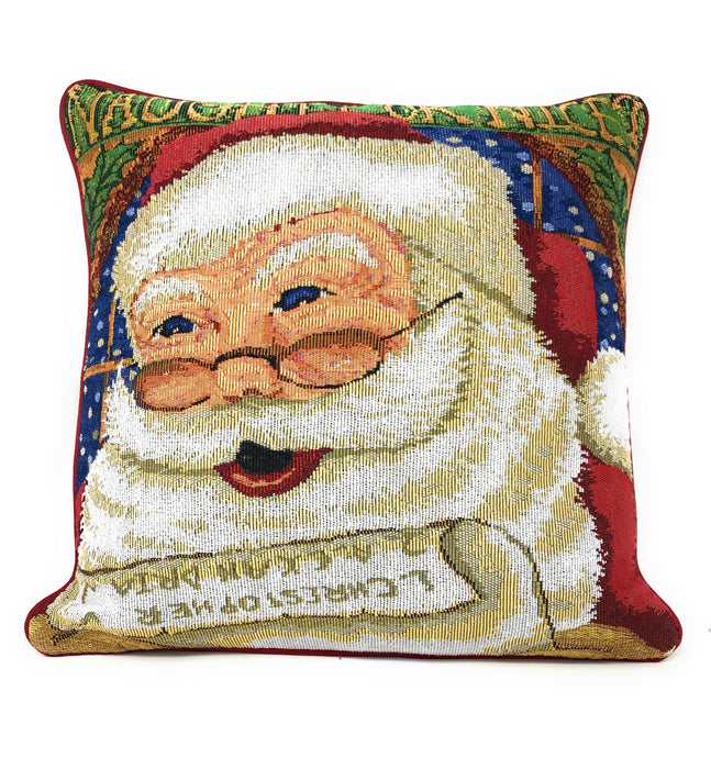 "Cushion Cover - DaDa Bedding Naughty or Nice Santa Claus Throw Pillow Cover Tapestry Cases 16"" x 16"" - DaDa Bedding Collection"
