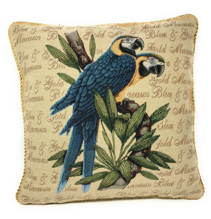 "CUSHION COVER - DaDa Bedding Parrots In Love Blue Macaw Bird Elegant Throw Pillow Cushion Cover - 1-Piece - 18"" - DaDa Bedding Collection"