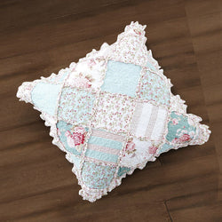 "CUSHION COVER - DaDa Bedding Patchwork Hint of Mint Floral Cotton Patchwork Ruffle Euro Pillow Sham, 26"" x 26"" (JHW3036) - DaDa Bedding Collection"