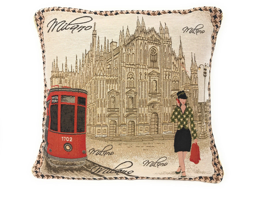"CUSHION COVER - DaDa Bedding Postcard of Milan Cathedral Elegant Throw Pillow Cushion Cover - 1-Piece - 18"" - DaDa Bedding Collection"