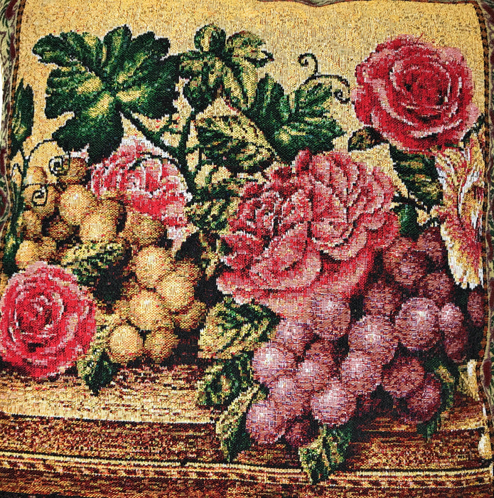 "CUSHION COVER - DaDa Bedding Romantic Parade of Fruit & Roses Throw Pillow Cushion Cover, 1-Piece 18"" - DaDa Bedding Collection"