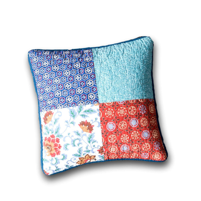 "CUSHION COVER - DaDa Bedding Set of 2 Bohemian Vibes Patchwork Floral Throw Pillow Covers, 18"" (JHW878) - DaDa Bedding Collection"