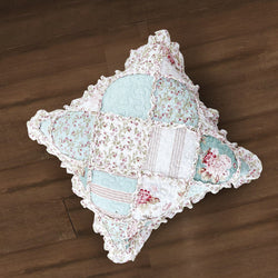 "CUSHION COVER - DaDa Bedding Set of 2 Hint of Mint Floral Cotton Patchwork Ruffle Throw Pillow Covers, 18"" (JHW3036) - DaDa Bedding Collection"