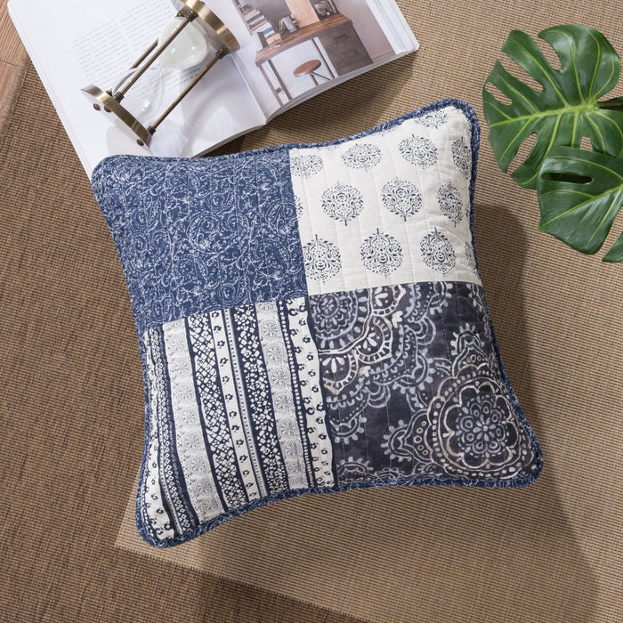 "Cushion Cover - DaDa Bedding Set of Two Bohemian Denim Blue Elegance Throw Pillow Covers - 18"" - 2-PCS (JHW660) - DaDa Bedding Collection"
