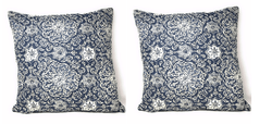 "CUSHION COVER - DaDa Bedding Set of Two Boho Elegant Blue Lapis Throw Pillow Covers, 18"", 2-PCS (14932-3) - DaDa Bedding Collection"