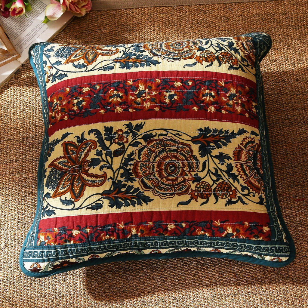 "CUSHION COVER - DaDa Bedding Set Of Two Dark Elegance Real Patchwork Bohemian Cotton Pillow Sham Square Accent Cushion Covers Pair - 2 Pieces - 18"" X 18"" (JHW-550-2PC-CC)"