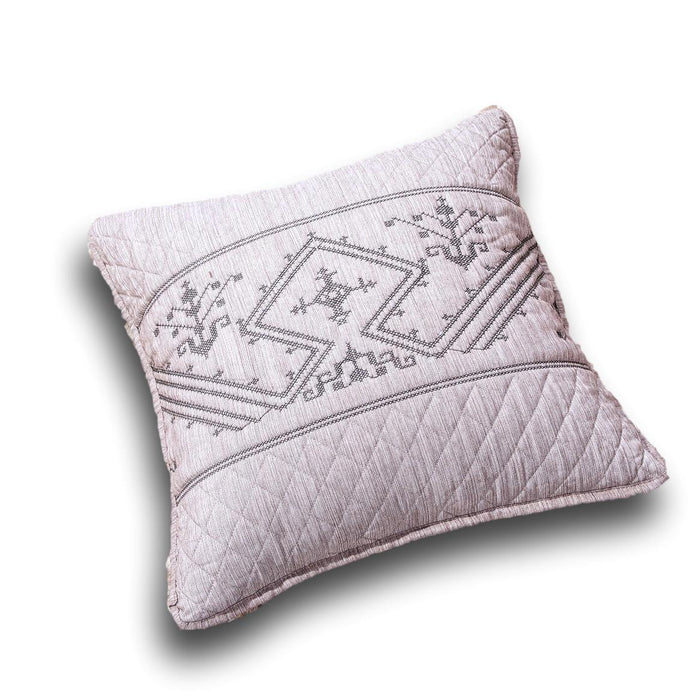 "CUSHION COVER - DaDa Bedding Set of Two Elegant Fair Isle Purple Grey Yarn Dyed Throw Pillow Covers, 18"" x 18"",  2-PCS (JHW866) - DaDa Bedding Collection"