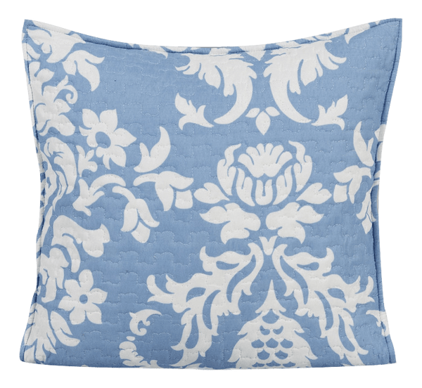 "CUSHION COVER - DaDa Bedding Set Of Two Enchanted Breeze Floral Blue & White Victorian Elegant Quilted Pillow Cushion Cover Square Accent Case Pair - 18"" X 18"" - 2-Pieces"