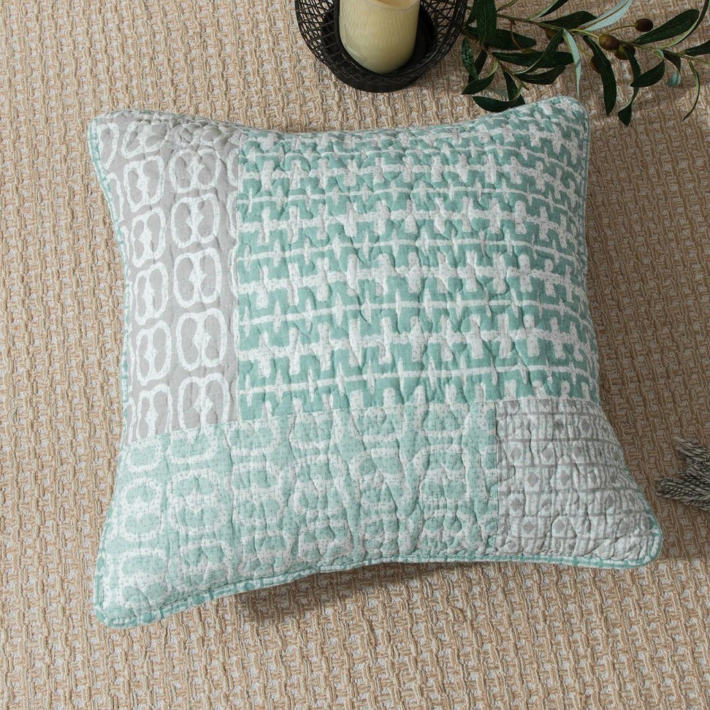 pillow 18x18. cushion cover - dada bedding set of two mint green grey contemporary geometric textured embossed patchwork pillow 18x18