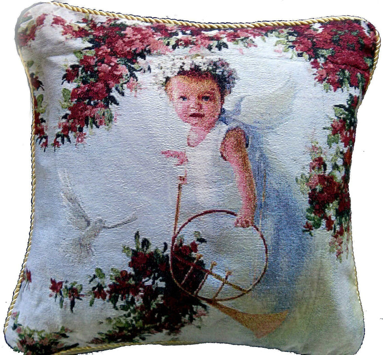 Cushion Cover - Tache Cupid's Horn 18 X 18 Inch Woven Tapestry Throw Pillow Cushion Cover