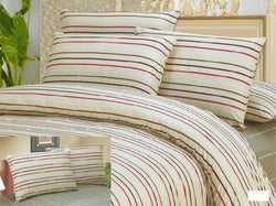 DUVET COVER - DaDa Bedding White Striped Duvet Cover & Pillow Cases Set (DCM8293) - DaDa Bedding Collection