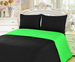 Duvet Set - Tache 2-3 Piece Cotton Solid Lime Green / Black Reversible Duvet Cover Set - DaDa Bedding Collection