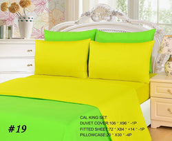 Duvet Set - Tache 4-6 Piece Lemon Lime Yellow/Green Reversible  Duvet Cover Set