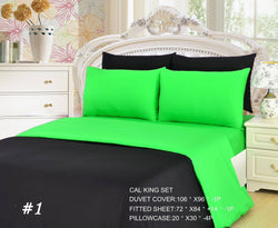 Duvet Set - Tache 4-6 Pieces Lime Green/ Black Reversible Duvet Set