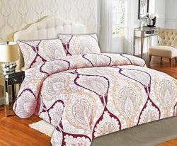 Duvet Set - Tache Maroon Mandala Fancy Patterned Paisley Rustic Duvet Cover Set