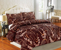 Duvet Set - Tache Melted Gold Brown Rose Pink Swirl Floral Duvet Cover Set