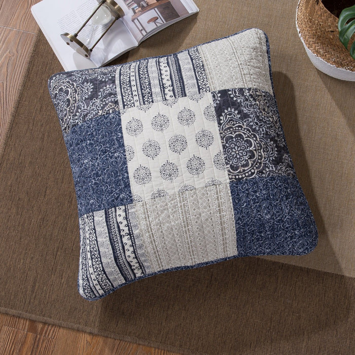 "Euro Sham - DaDa Bedding Patchwork Denim Blue Elegance Bohemian Euro Sham - 26"" x 26"" - 1PC (JHW660) - DaDa Bedding Collection"
