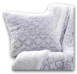 Throw Pillow - DaDa Bedding Embossed Faux Fur Euro Throw Pillow Cover, Dreamy Milky Way White & Purple (M3395) - DaDa Bedding Collection