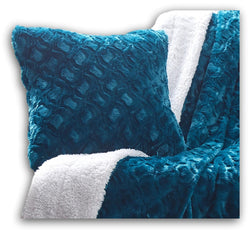 Throw Pillow - DaDa Bedding Luxury Faux Fur Euro Throw Pillow Cover, Mermaid Scales Teal Green (171805) - DaDa Bedding Collection