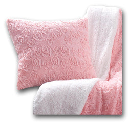 Throw Pillow - DaDa Bedding Luxury Faux Fur Euro Throw Pillow Cover, Blushing Rosey Pastel Baby Pink (171752) - DaDa Bedding Collection