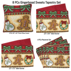 Table Linen - DaDa Bedding Set of 8 Pieces Gingerbread Sweets Holiday Table Tapestry - 4 Placemats, 2 Table Runners, 2 Throw Pillow Covers (12917) - DaDa Bedding Collection