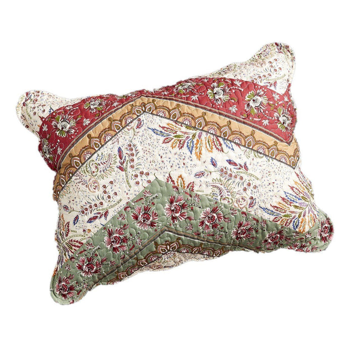 "DaDa Bedding Bohemian Cranberry Sage Chevron Floral King Size Pillow Sham 20"" x 36"" (JHW924)"