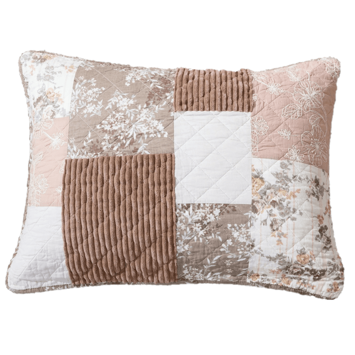 "DaDa Bedding Patchwork Vintage Muted Dusty Rose Mauve Pink & Brown Floral - King Size Pillow Sham 20"" x 36"" (JHW866)"