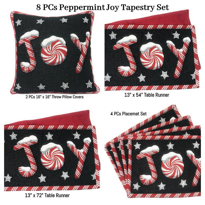 Table Linen - DaDa Bedding Set of 8 Pieces Peppermint Joy Holiday Table Tapestry - 4 Placemats, 2 Table Runners, 2 Throw Pillow Covers (12904) - DaDa Bedding Collection