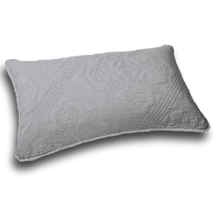 "Pillow Case - DaDa Bedding Elegant Floral Grey Diamond Pattern Quilted King Pillow Sham - 20"" x 36"" (JHW855) - DaDa Bedding Collection"