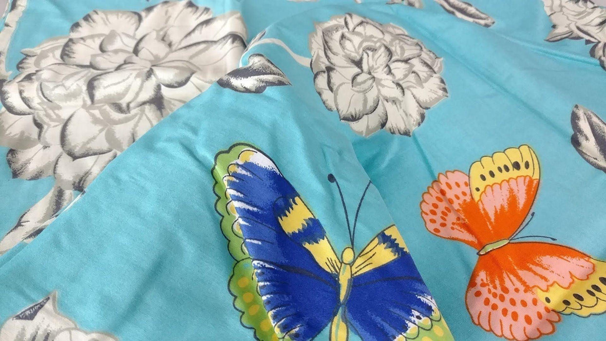 Pillow Case - Tache 2 Piece Cotton Blue Butterfly Wonderland Flora Colorful Pillowcase - DaDa Bedding Collection