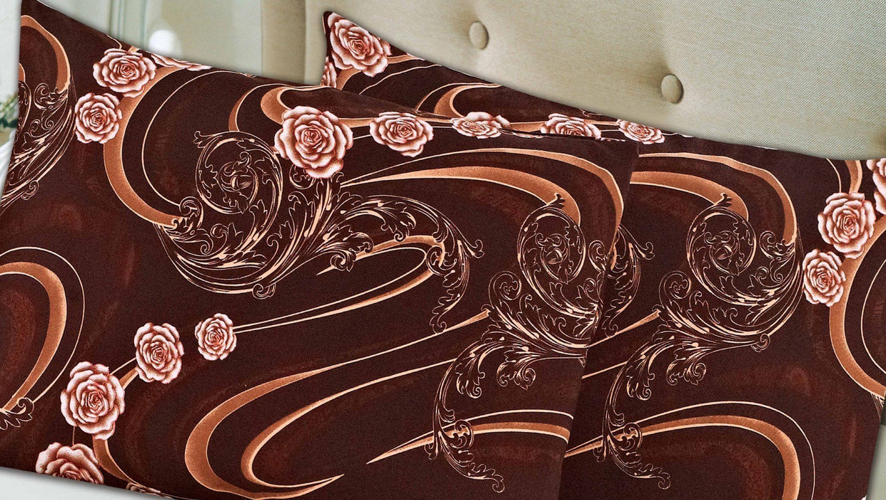 Tache 2 Piece Melted Gold Brown Floral Pillow Covers - DaDa Bedding Collection