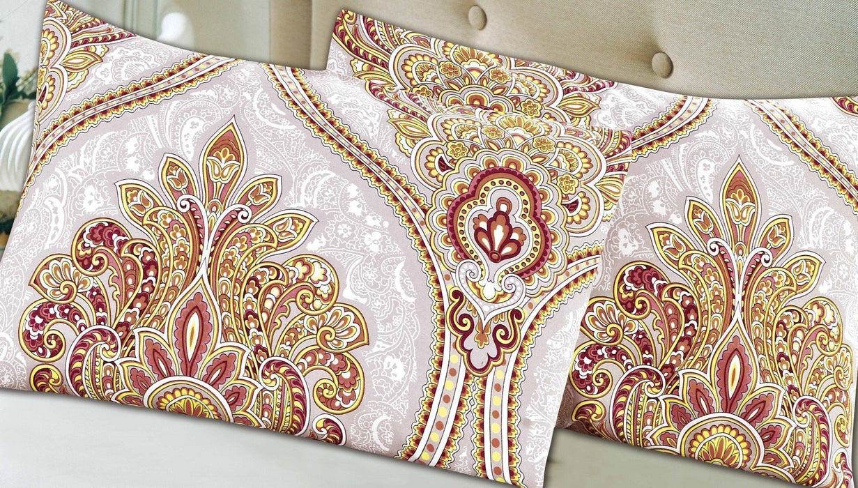 Pillow Case - Tache 2 Piece Sunshine Festival White Gold Fancy Patterned Pillow Covers - DaDa Bedding Collection