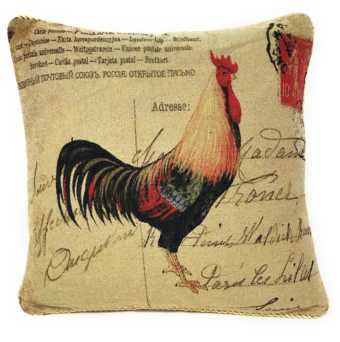 "PILLOW - DaDa Bedding Set of Two Glamorous Rooster Throw Pillow Covers w/ Inserts - 2-PCS - 18"" - DaDa Bedding Collection"
