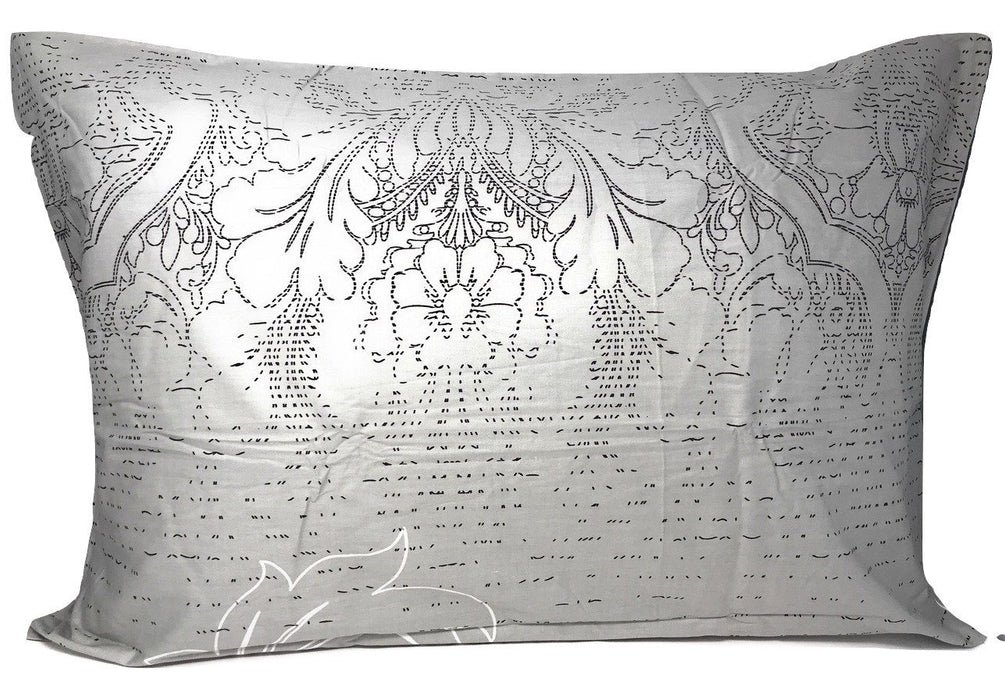 "PILLOW - Dada Bedding Set of Two Grey Floral Leaves Pillowcases - Queen 20"" x 30"" - 2-PCS (8197) - DaDa Bedding Collection"