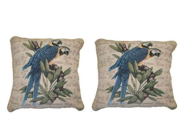 "PILLOW - DaDa Bedding Set Of Two Parrots In Love Elegant Novelty Woven Square Throw Toss Accent Cushion Cover Pillow With Inserts - 2-Pieces - 18"" X 18"" (CC45X45CM156)"