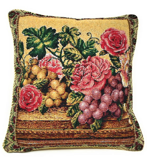 "PILLOW - DaDa Bedding Set of Two Parade Fruit & Roses Throw Pillow Covers w/ Inserts - 2-PCS - 18"" - DaDa Bedding Collection"
