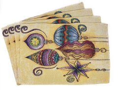 "Placemat - DaDa Bedding Bohemian Ornaments Placemats, Set of 4 Christmas Tapestry 13"" x 19"" (14916) - DaDa Bedding Collection"