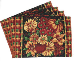 "Placemat - DaDa Bedding Fall Harvest Pumpkin Placemats, Set of 4 Floral Tapestry 13"" x 19"" (11774) - DaDa Bedding Collection"