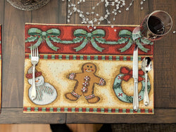 "Placemat - DaDa Bedding Gingerbread Sweets Placemats, Set of 4 Holiday Tapestry 13"" x 19"" (12917) - DaDa Bedding Collection"
